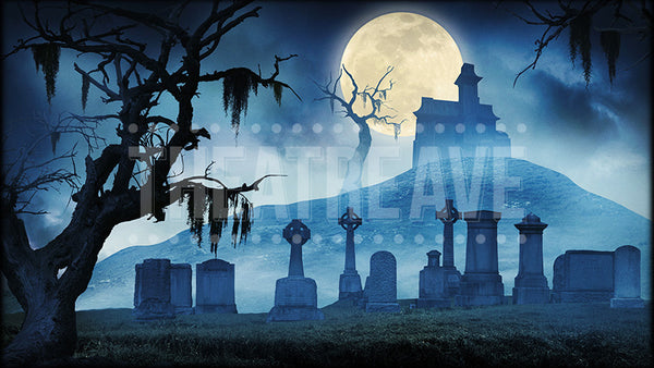 Haunted Graveyard at Night, an Addams Family projection backdrop by Theatre Avenue.
