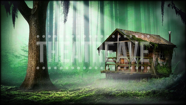 Hut in the Woods, a digital theatre projection backdrop perfect for shows like Big Fish, Into the Woods, Hansel and Gretel, and Tuck Everlasting