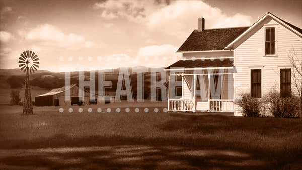Kansas Farmhouse, a digital projection backdrop for theatre, ballet and dance performances like Wizard of Oz