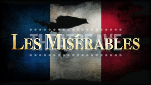 Les Misérables title projection by Theatre Avenue, for the school edition.