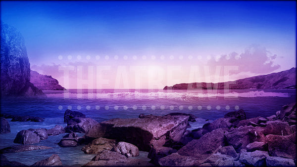 Mediterranean Shore at Twilight, a Mamma Mia projection backdrop by Theatre Avenue.