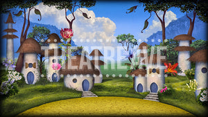 Munchkinland, a digital theatre projection backdrop for shows like Wizard of Oz