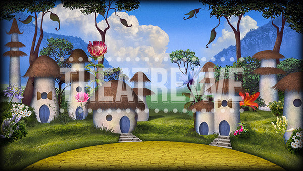 Munchkinland, a digital scenic projection backdrop for shows like Wizard of Oz on stage