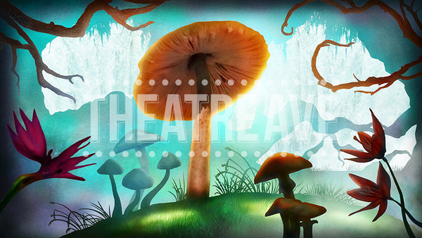 Mushroom Forest, a digital theatre projection backdrop perfect for shows like Alice in Wonderland on stage.