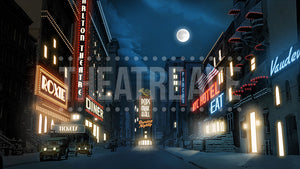 NYC at Night, a digital theatre projection backdrop for shows like Annie, The Great Gatsby, and Guys and Dolls.