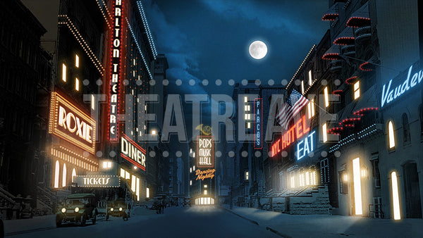 NYC at Night digital projection backdrop for Annie, Guys and Dolls, and The Great Gatsby
