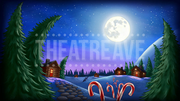 North Pole Village, a digital theatre projection backdrop perfect for shows like Elf the Musical and Twas the Night Before Christmas
