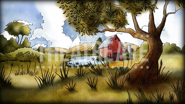 Old Farm digital theatre projection backdrop
