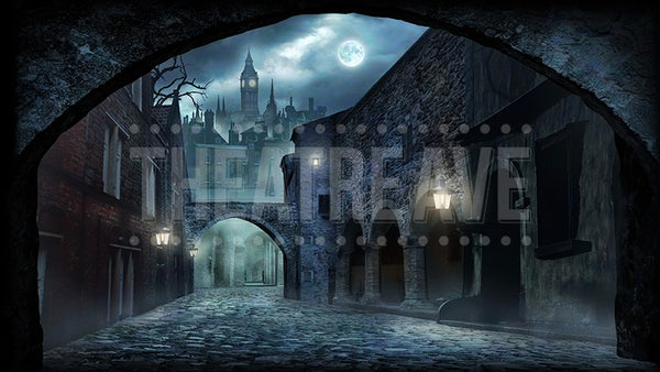 Old London Night, a digital theatre projection backdrop perfect for shows like Sweeney Todd and Peter Pan
