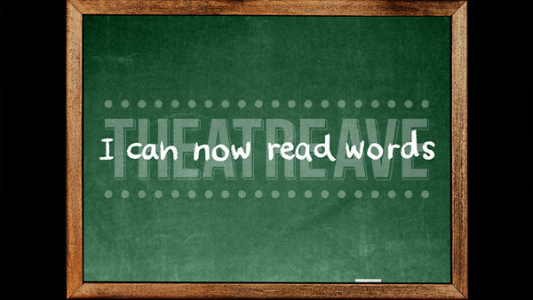 Read Words Chalkboard, a digital theatre projection backdrop perfect for shows like Matilda on stage.