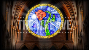 Castle Rose Window, a theatre projection backdrop great for shows on stage like Beauty and the Beast