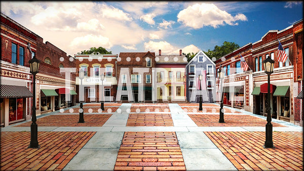 Small Town, a digital theatre projection backdrop perfect for shows like Big Fish, The Music Man, and Footloose.