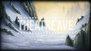 Snowy Mountain Valley, a digital theatre projection backdrop perfect for shows like Mulan Jr and Elf the Musical.