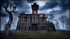 Spooky Mansion, a digital theatre projection backdrop perfect for shows like Addams Family, Wrinkle in Time and Big Fish.