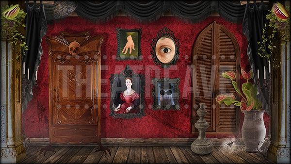 Spooky Dressing Room, an Addams Family projection by Theatre Avenue for Morticia's Boudoir.