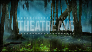 Swamp at Night, a digital theatre projection backdrop perfect for shows like Big Fish, Alice in Wonderland, and Shrek