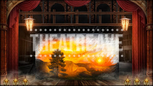 Vaudeville Theater II, a digital projection backdrop for Newsies to show Jack Kelly's Santa Fe painting in progress.