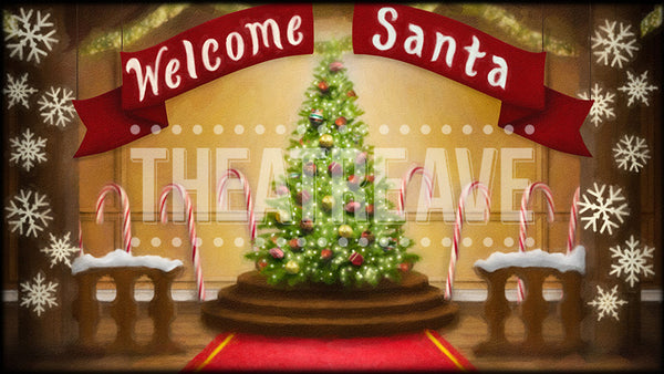 Welcome Santa a digital theatre projection backdrop perfect for shows like Elf the Musical, The Christmas Story, and T'was the Night Before Christmas.