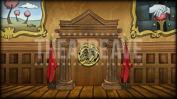Whimsical Courtroom a digital theatre projection backdrop perfect for shows like Seussical the Musical.