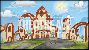 Whimsical Village a digital theatre projection backdrop perfect for shows like Seussical the Musical.