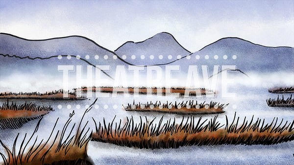 Winter Marsh, a digital theatre projection backdrop perfect for shows like Honk.