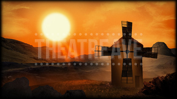 Don Quixote projection backdrop called Windmill Sunset by Theatre Avenue