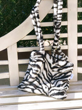 Load image into Gallery viewer, Plush zebra tote