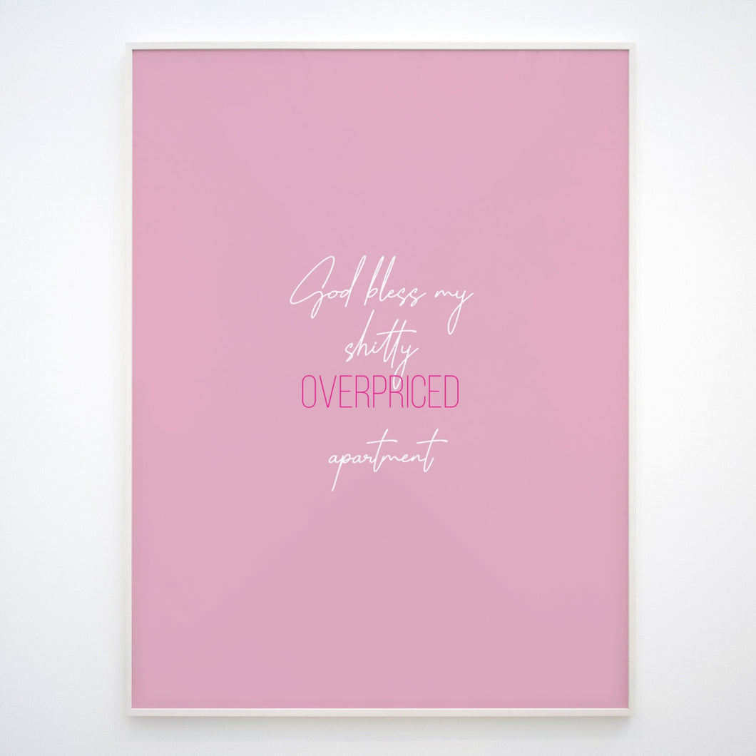 Pink Apartment Print, Downloadable print poster wall art