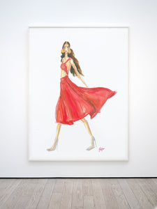 Fashion sketch red dress Print, Downloadable print poster wall art