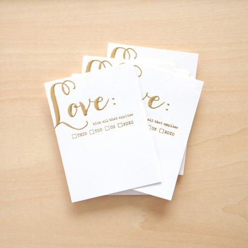 blinks of life - loving this - gold letterpress cards