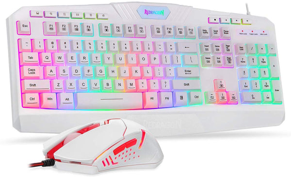 Redragon S101 PC Gaming Keyboard and Mouse Combo (White)