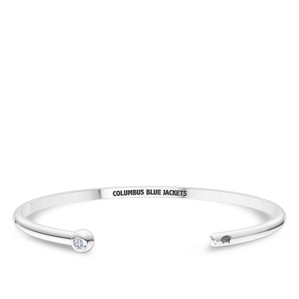 Columbus Blue Jackets Diamond Engraved Cuff Bracelet In Sterling Silver