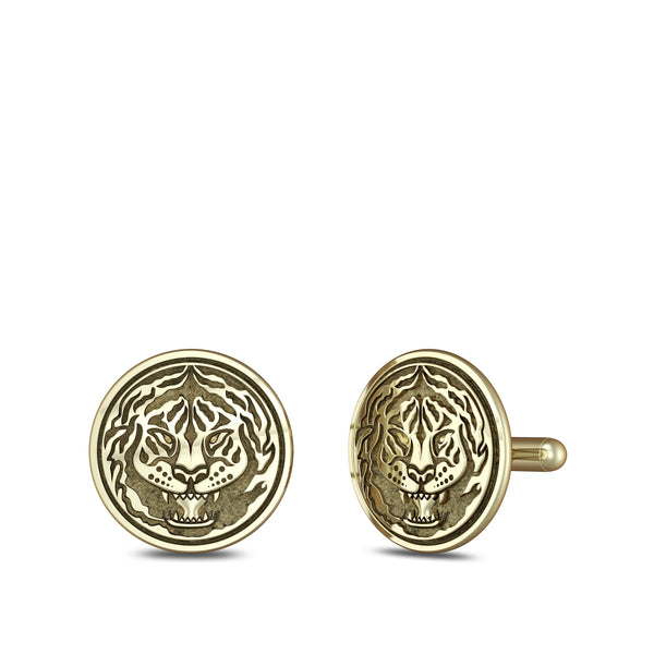 """The Notorious"" Conor Mcgregor Tiger Cufflink In 14K Yellow Gold"