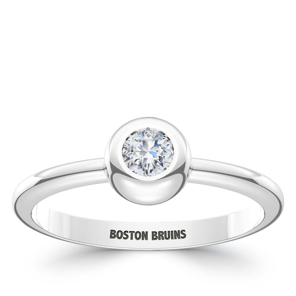 Boston Bruins Diamond Engraved Ring In Sterling Silver