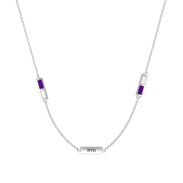 New York University Triple Station Necklace In Sterling Silver