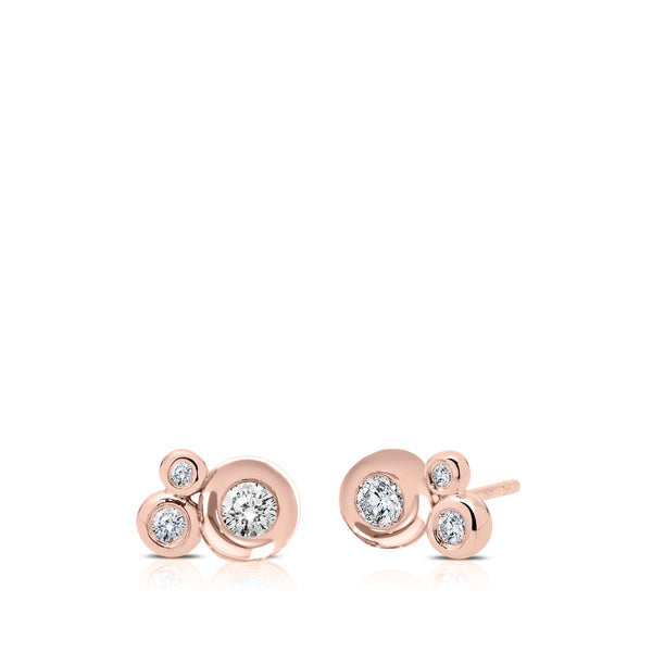 Bixlers Dew Drop Diamond Cluster Earring In 14K Rose Gold