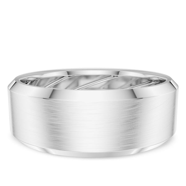 Bixlers Men's Beveled Wedding Band In Platinum