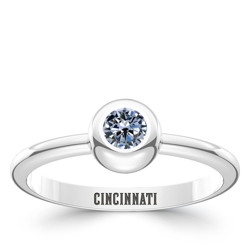 Cincinnati Reds White Sapphire Engraved Ring In Sterling Silver