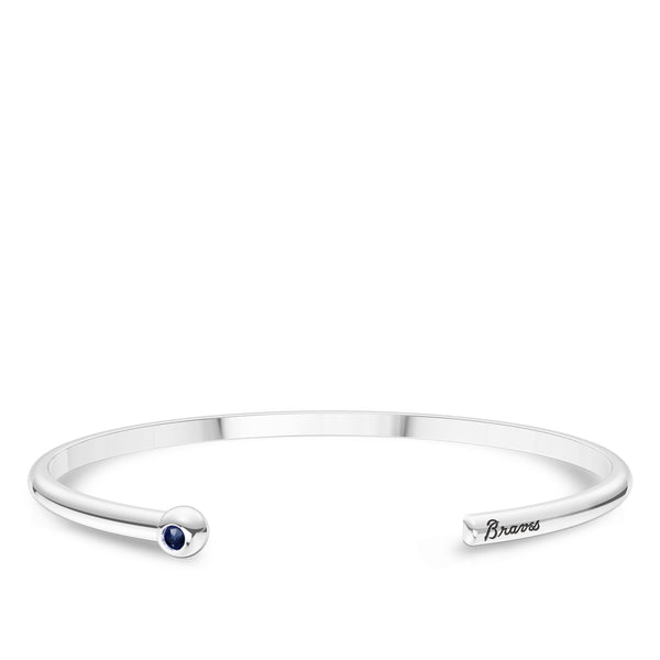 Atlanta Braves Sapphire Engraved Cuff Bracelet In Sterling Silver