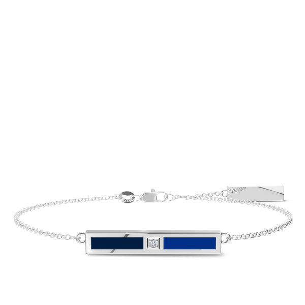 St. Louis Blues Diamond Bar Bracelet In Sterling Silver