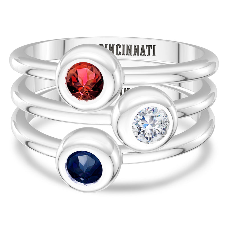 Cincinnati Reds Sapphire Engraved Ring In Sterling Silver