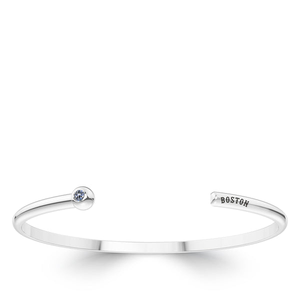 Boston Red Sox White Sapphire Engraved Cuff Bracelet In Sterling Silver