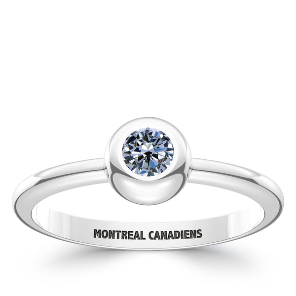Montreal Canadiens White Sapphire Engraved Ring In Sterling Silver