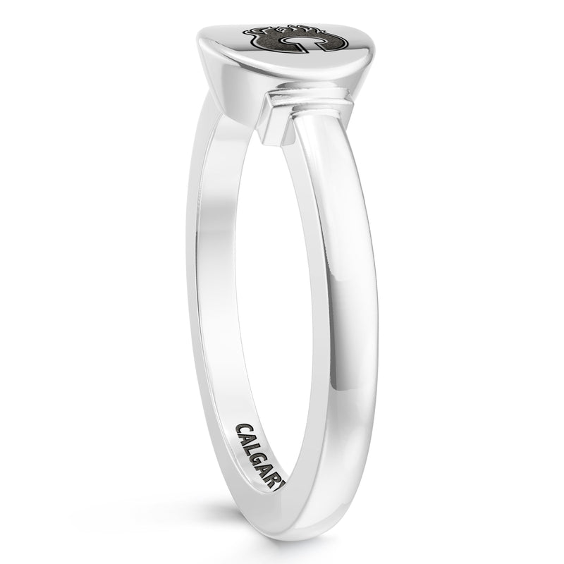 Calgary Flames Logo Engraved Ring In Sterling Silver
