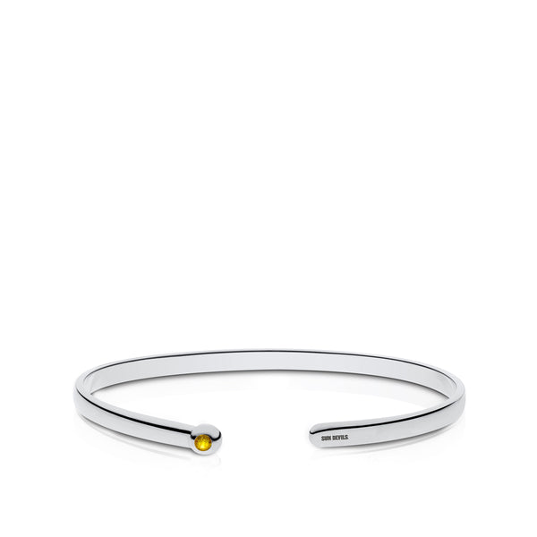 Arizona State University Yellow Sapphire Engraved Cuff Bracelet In Sterling Silver