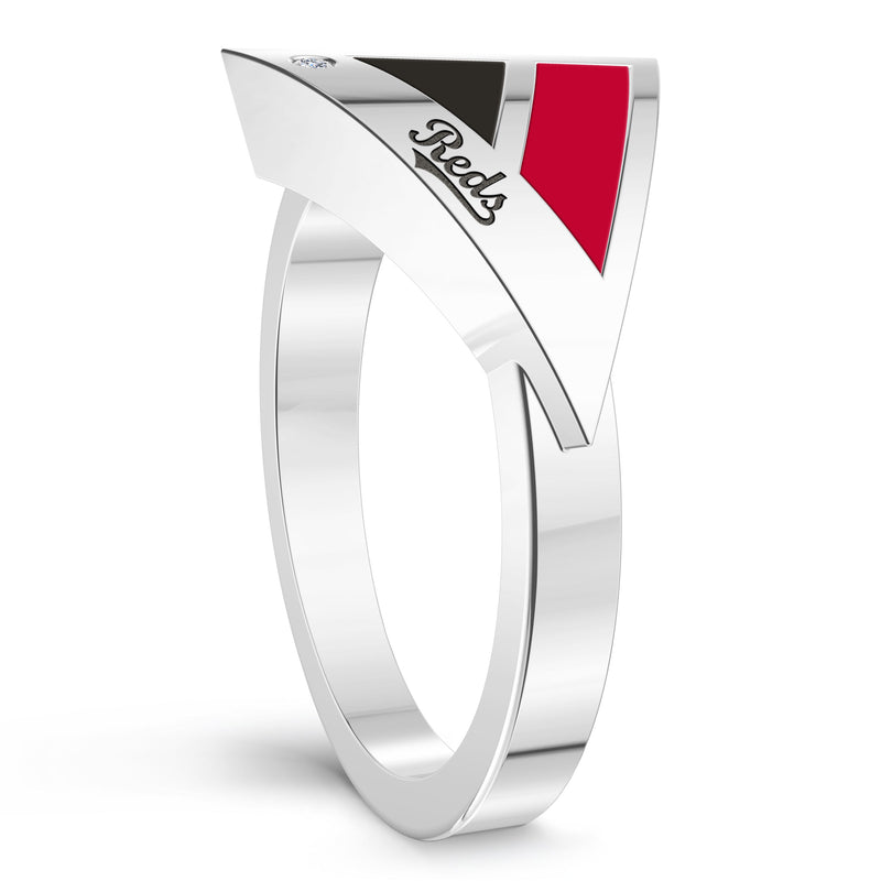 Cincinnati Reds Diamond Engraved Geometric Ring In Sterling Silver