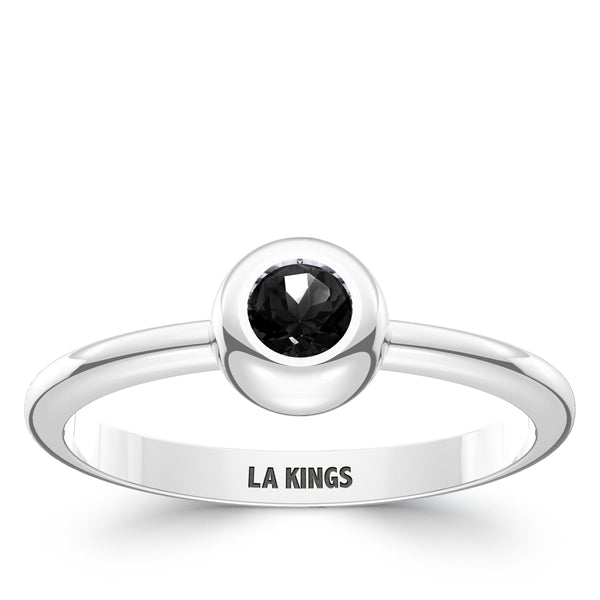Los Angeles Kings Onyx Engraved Ring In Sterling Silver