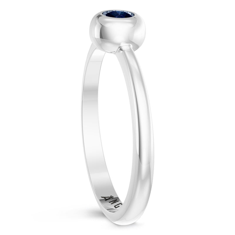 Los Angeles Angels Sapphire Engraved Ring In Sterling Silver