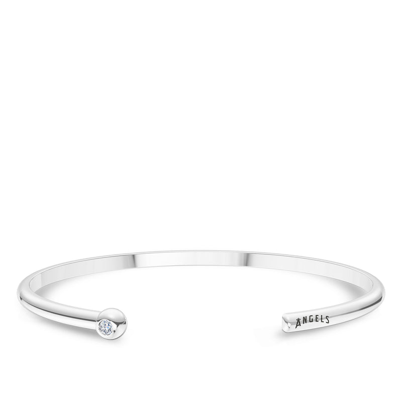 Los Angeles Angels Diamond Engraved Cuff Bracelet In Sterling Silver