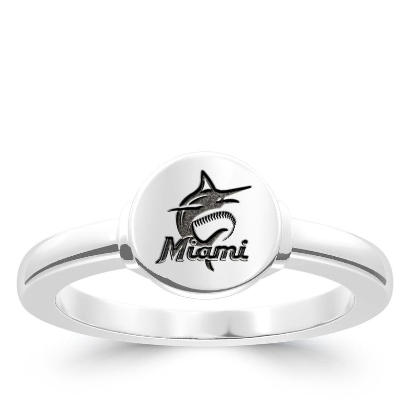 Miami Marlins Logo Engraved Ring In Sterling Silver